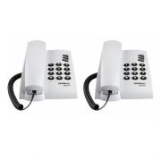 Kit 02 Telefones Com Fio Mesa ou Parede Pleno Branco Intelbras