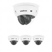 Kit 4 Câmeras IP 5 Megapixels 2.7 a 13,5mm 50m Inteligência Artificial VIP 5550 D Z IA Intelbras