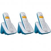 Kit Telefone Sem Fio + 2 Ramais Branco e Azul TS 3110 Intelbras