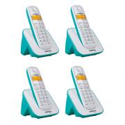 Kit Telefone Sem Fio + 3 Ramais Branco e Azul Claro TS 3110 Intelbras