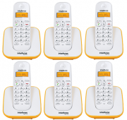 Kit Telefone Sem Fio + 5 Ramais Branco e Amarelo TS 3110 Intelbras