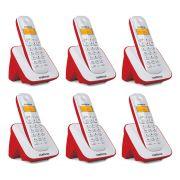 Kit Telefone Sem Fio + 5 Ramais Branco e Vermelho TS 3110 - Intelbras