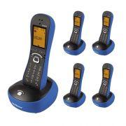 Kit Telefone Sem Fio Com Design Exclusivo TS 8220 + 4 Ramais Azul - Intelbras