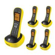 Kit Telefone Sem Fio Com Design Exclusivo TS 8220 + 4 Ramais Amarelo - Intelbras