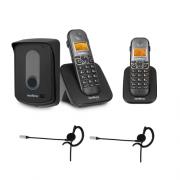 Kit Porteiro Eletrônico Sem Fio TIS 5010 + 1 Ramal + 2 Fones HC 10 Intelbras