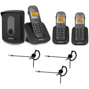 Kit Porteiro Eletrônico Sem Fio TIS 5010 + 2 Ramais + 3 Fones HC 10 Intelbras