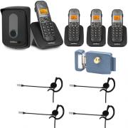 Kit Porteiro Eletrônico Sem Fio TIS 5010 + 3 Ramais + 4 Fones + Fechadura Intelbras