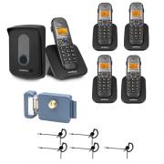 Kit Porteiro Eletrônico Sem Fio TIS 5010 + 4 Ramais + 5 Fones + Fechadura Intelbras