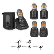 Kit Porteiro Eletrônico Sem Fio TIS 5010 + 4 Ramais + 5 Fones HC 10 Intelbras