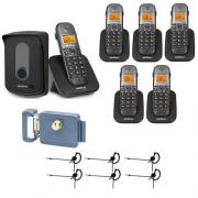 Kit Porteiro Eletrônico Sem Fio TIS 5010 + 5 Ramais + 6 Fones + Fechadura Intelbras