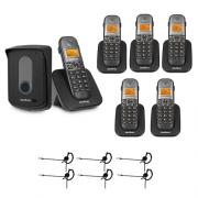 Kit Porteiro Eletrônico Sem Fio TIS 5010 + 5 Ramais + 6 Fones HC 10 Intelbras
