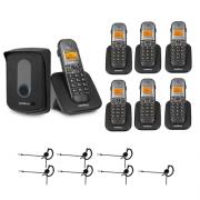 Kit Porteiro Eletrônico Sem Fio TIS 5010 + 6 Ramais + 7 Fones HC 10 Intelbras