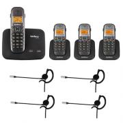 Kit Telefone 2 Linhas Ts 5150 + 3 Ramais Ts 5121 + 4 fones HC 10 Intelbras
