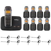Kit Telefone 2 Linhas Ts 5150 + 8 Ramais Ts 5121 + 9 fones HC 10 Intelbras