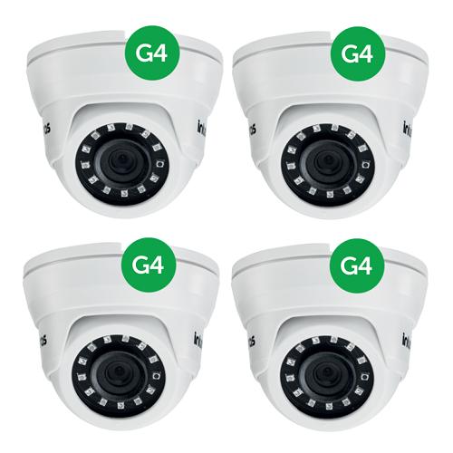 Kit CFTV  4 Câmeras AHD 1 Mega ou Analógica 20m 2.6mm VMD 1120 IR G4 Intelbras
