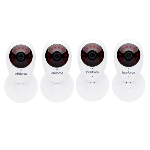 Kit 4 Câmeras IP Sem Fio Wi-Fi HD MiBO Micro SD Áudio iC3 Intelbras