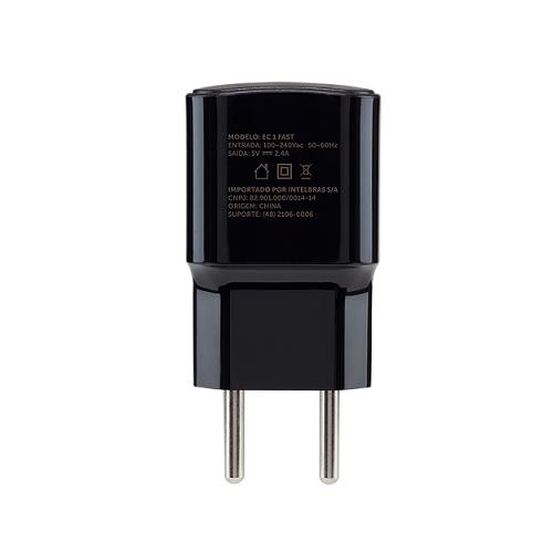 Carregador USB 2,4A EC 1 Fast Preto Intelbras