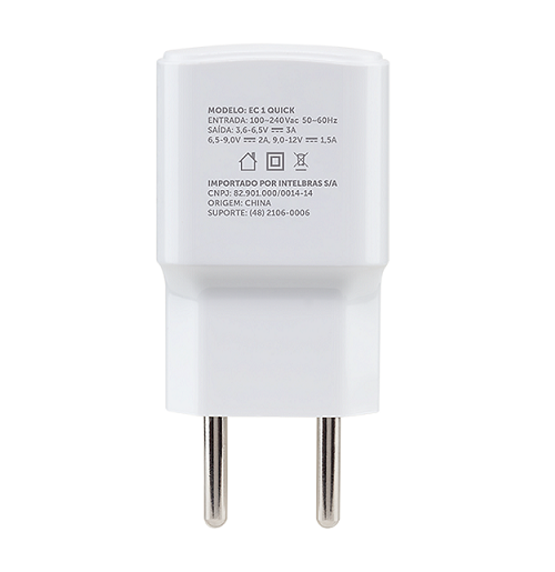 Carregador USB  Qualcomm Quick Charge EC 1 Quick Branco Intelbras