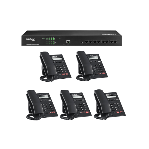 Kit PABX IP Gateway 50 Ramais VoIP CIP 850 + 05 Telefones IP TIP 125 Lite Intelbras