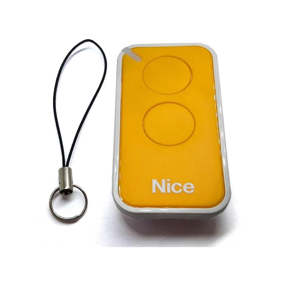 Controle Remoto 433,92 MHz Rolling Code 2 Botões Era Inti Amarelo Linear HCS - Nice