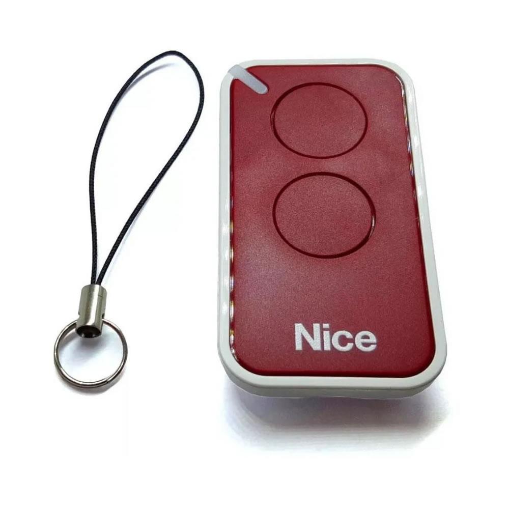 Controle Remoto 433,92 MHz Rolling Code 2 Botões Era Inti Vermelho Linear HCS - Nice