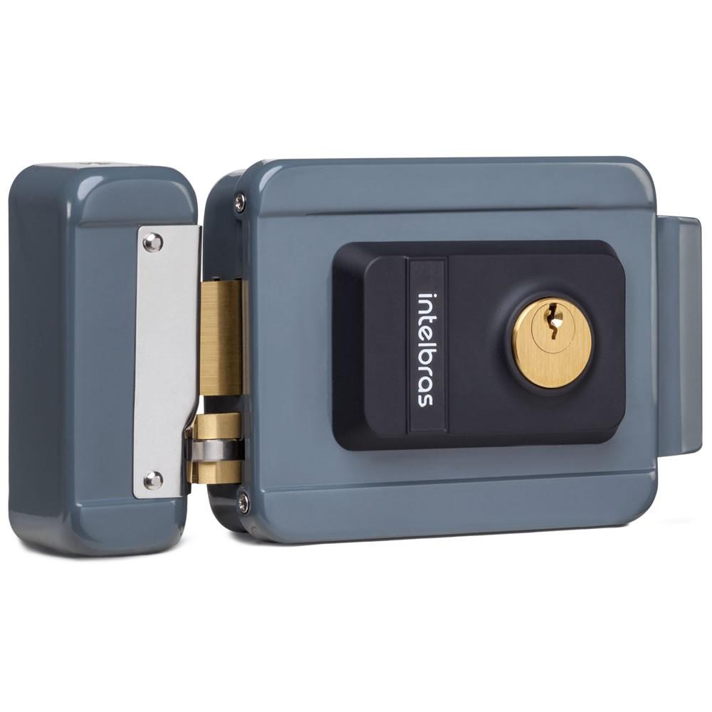 Fechadura Elétrica Com Trinco Reversível e Cilindro Ajustável FX 2000 AJ Cinza - Intelbras