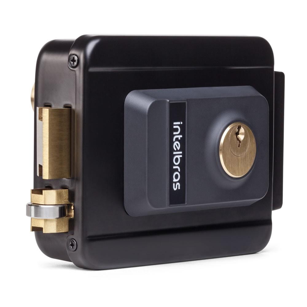 Fechadura Elétrica Com Trinco Reversível e Cilindro Ajustável FX 2000 AJ Preta - Intelbras
