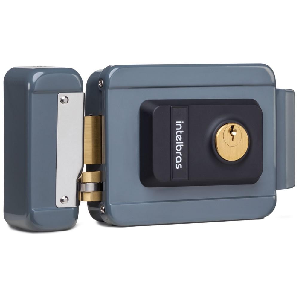 Fechadura Elétrica Com Trinco Reversível e Tambor Substituível FX 2000 Cinza - Intelbras