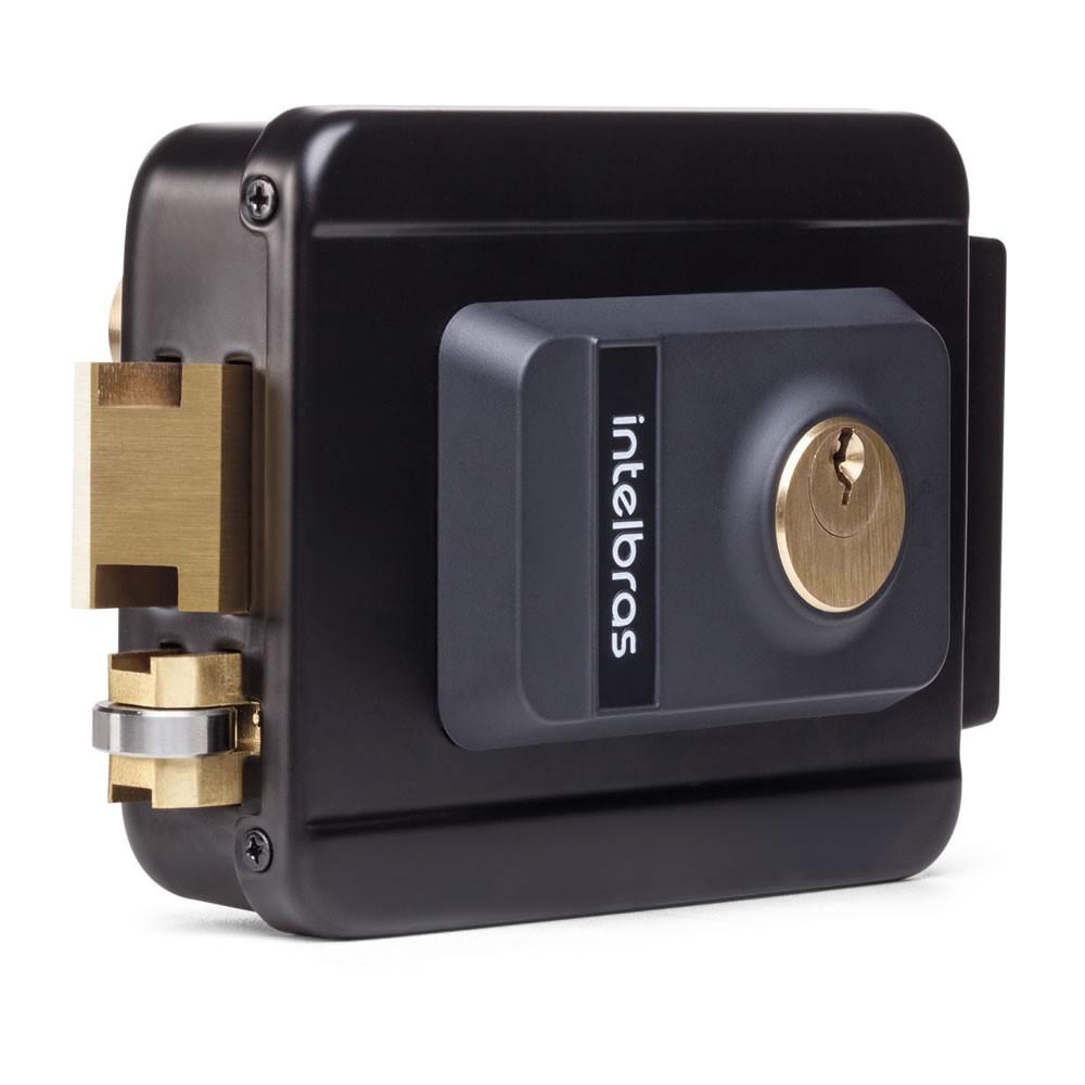 Fechadura Elétrica Com Trinco Reversível e Tambor Substituível FX 2000 Preta - Intelbras