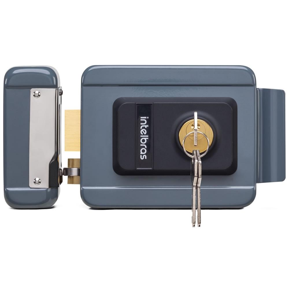 Fechadura Elétrica Com Trinco Reversível e Tambor Substituível FX 2000 UN Cinza - Intelbras