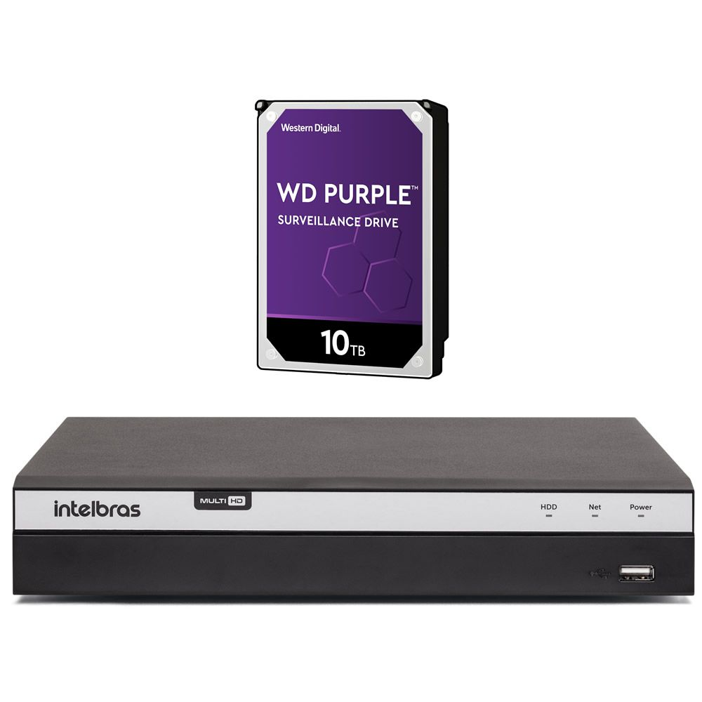 Gravador Digital Dvr 08 Canais Multi HD 4K 8 MP MHDX 5208 + HD 10 TB Purple Intelbras