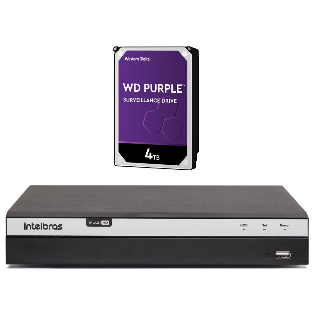 Gravador Digital Dvr 08 Canais Multi HD 4K 8 MP MHDX 5208 + HD 4 TB Purple Intelbras