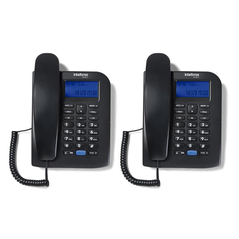 Kit 02 Telefones Com fio Identificador Chamada TC 60 ID Intelbras