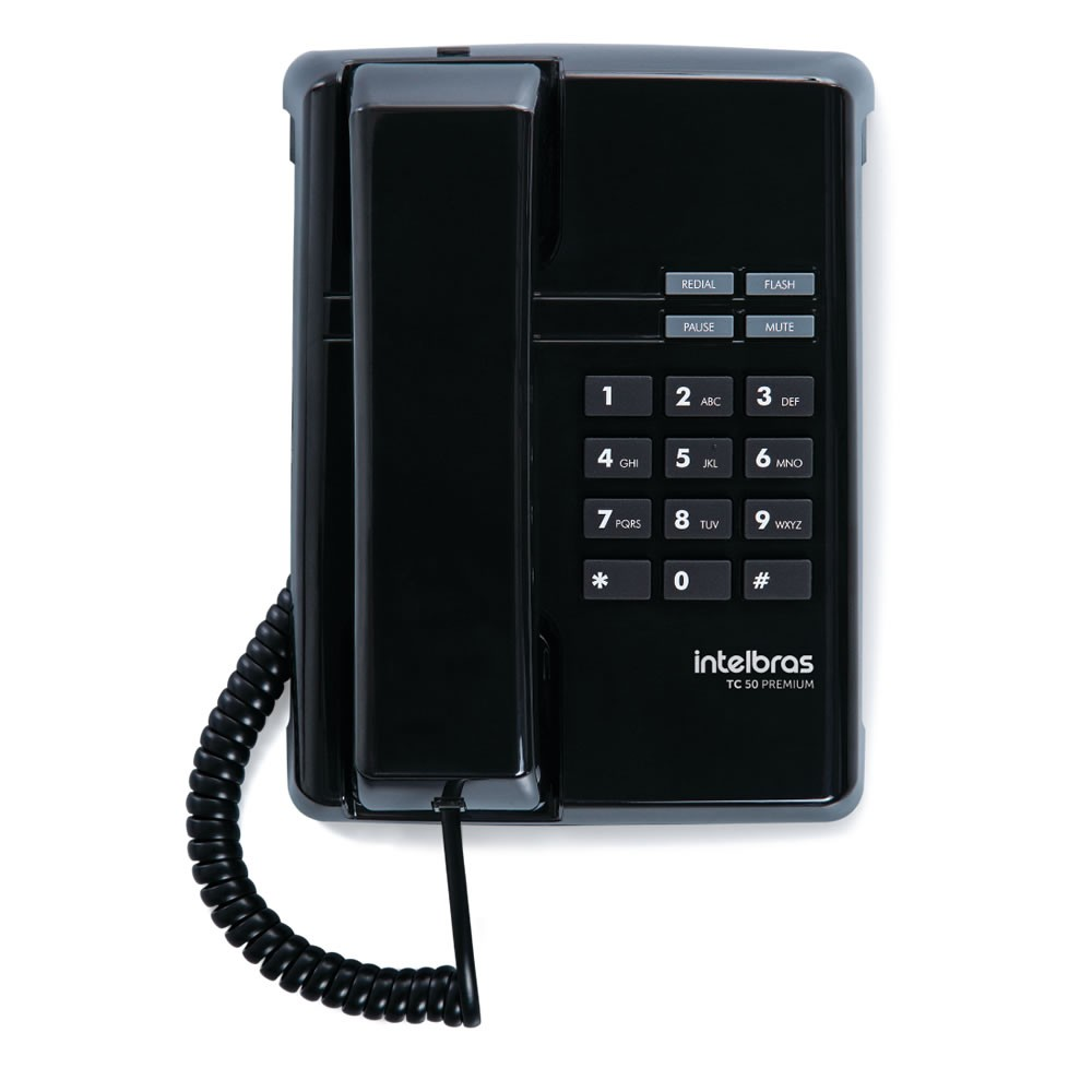 Kit 02 Telefones Com Fio TC 50 Premium Preto Intelbras