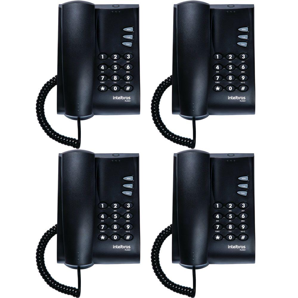 Kit 04 Telefones Com Fio Mesa ou Parede Pleno Preto Intelbras