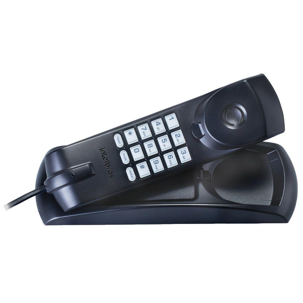 Kit 06 Telefones Com Fio Gôndola Preto TC 20 Intelbras