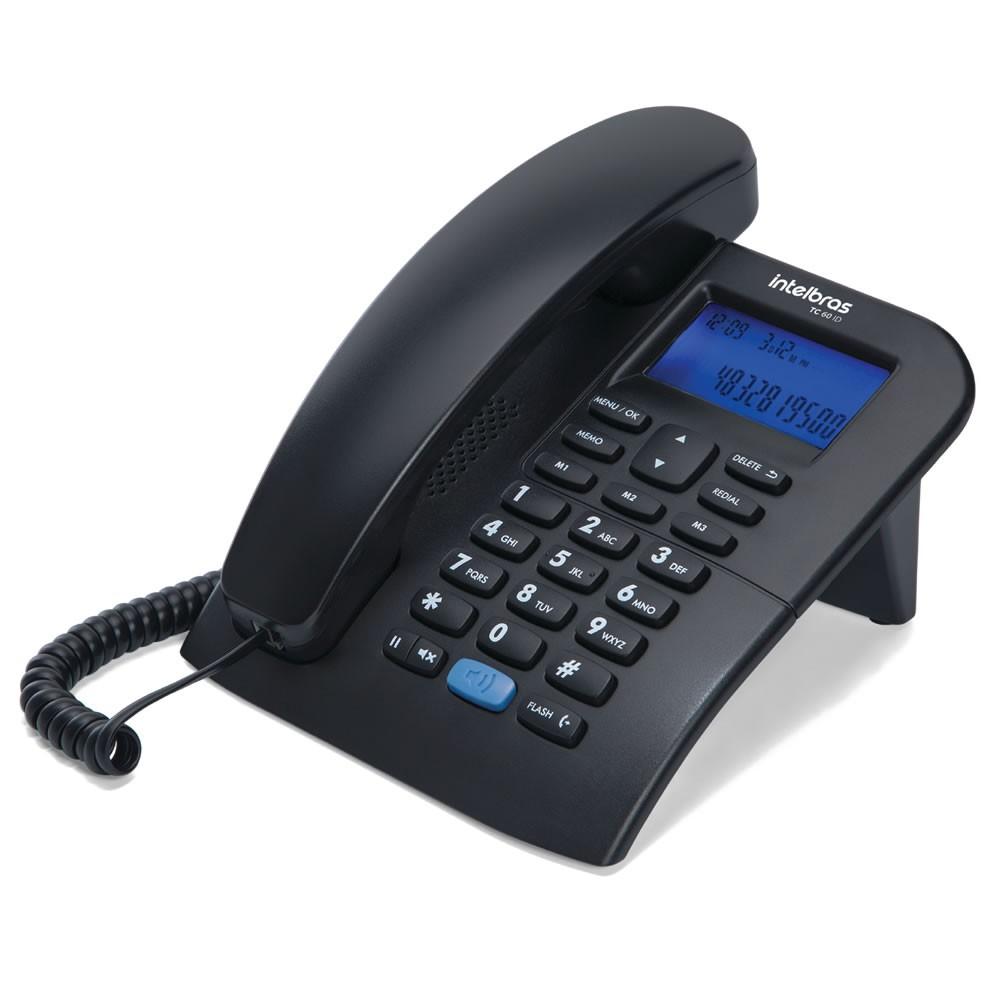 Kit 06 Telefones Com fio Identificador Chamada TC 60 ID Intelbras