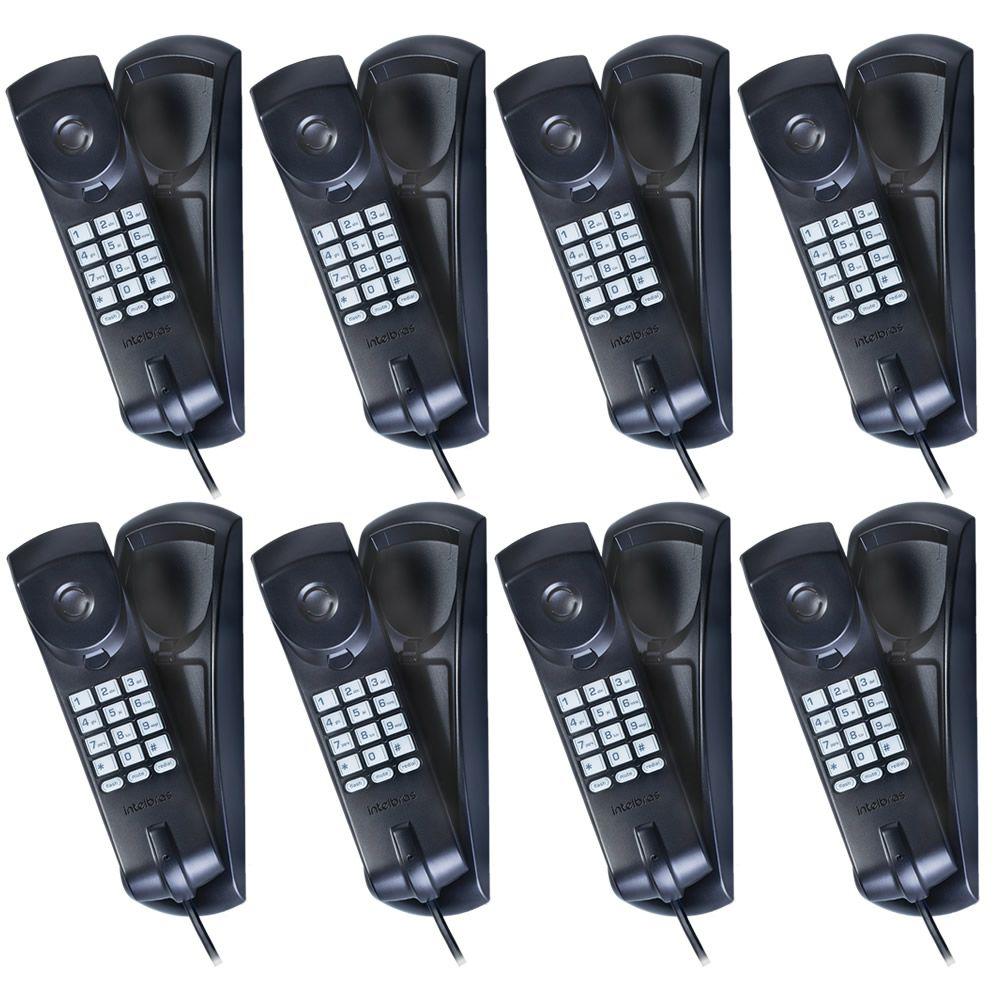 Kit 08 Telefones Com Fio Gôndola TC 20 Preto Intelbras