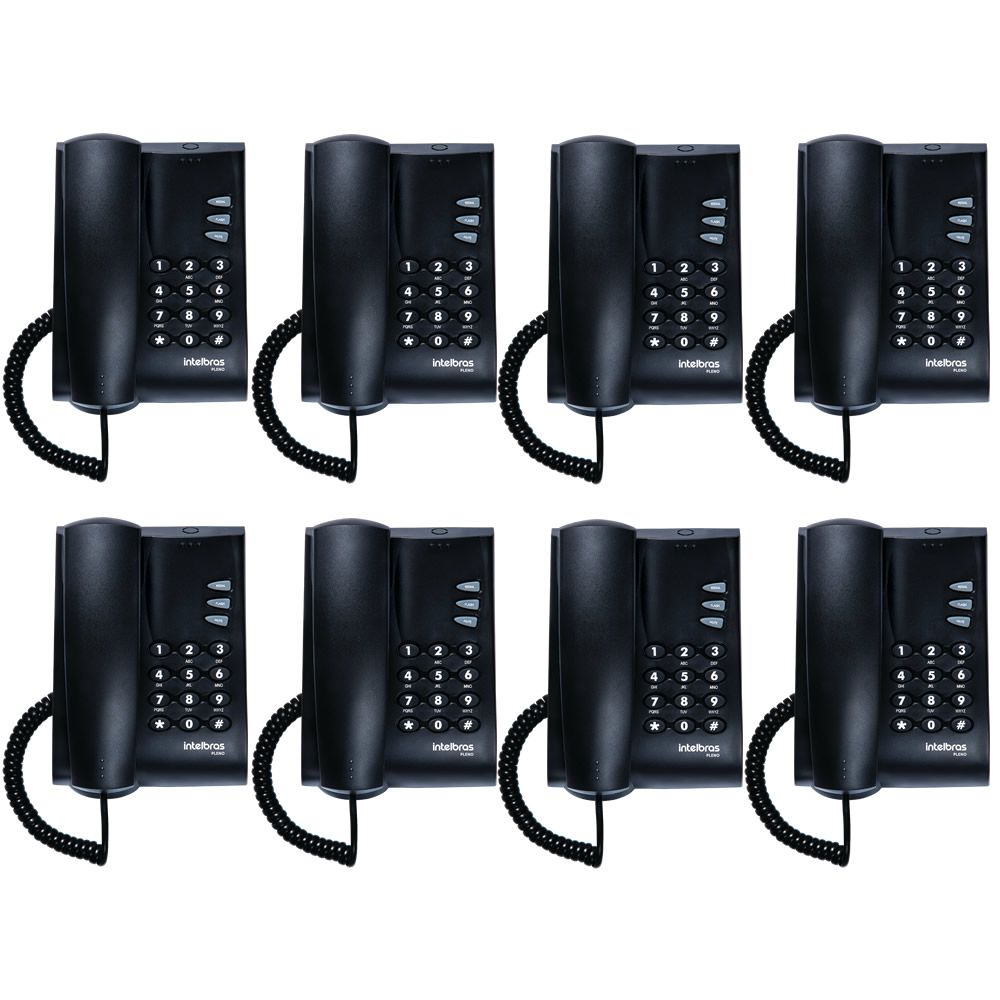 Kit 08 Telefones Com Fio Mesa ou Parede Pleno Preto Intelbras