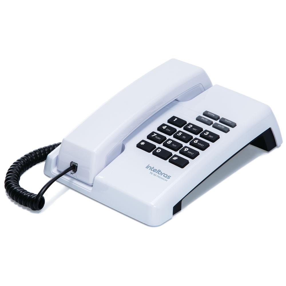 Kit 08 Telefones Com Fio TC 50 Premium Branco Intelbras