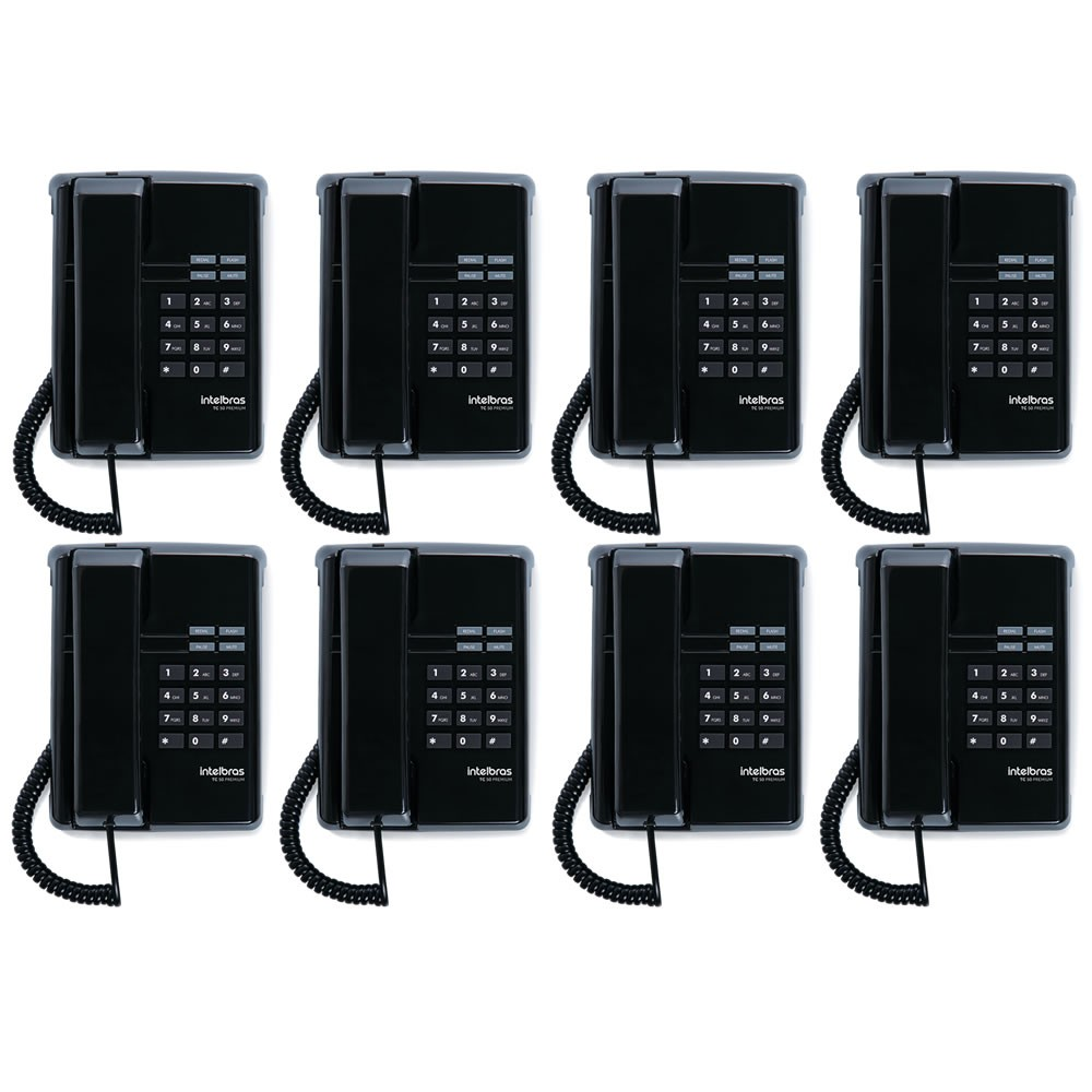 Kit 08 Telefones Com Fio TC 50 Premium Preto Intelbras