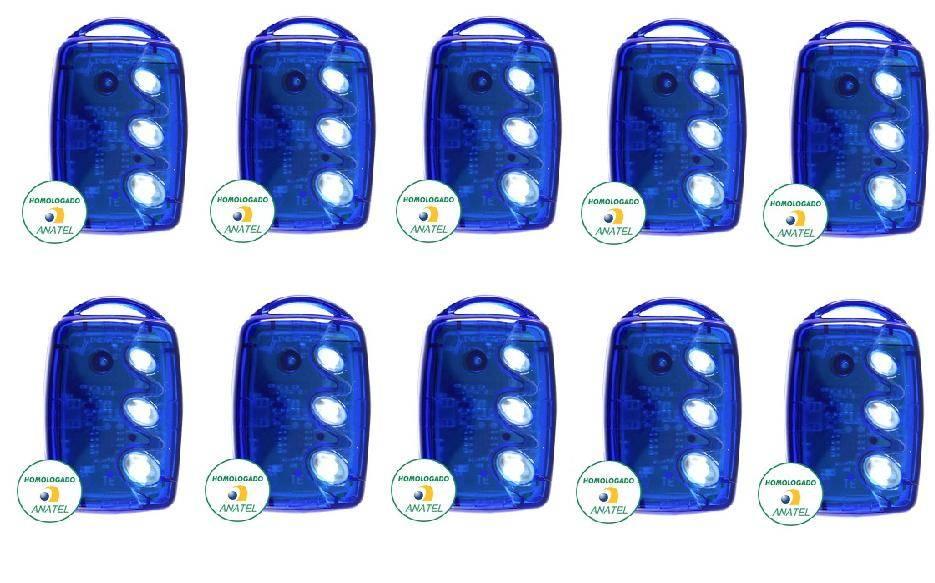 Kit 10 Controles Remotos 433 Mhz 3 Teclas TX3 T-B Azul Linear
