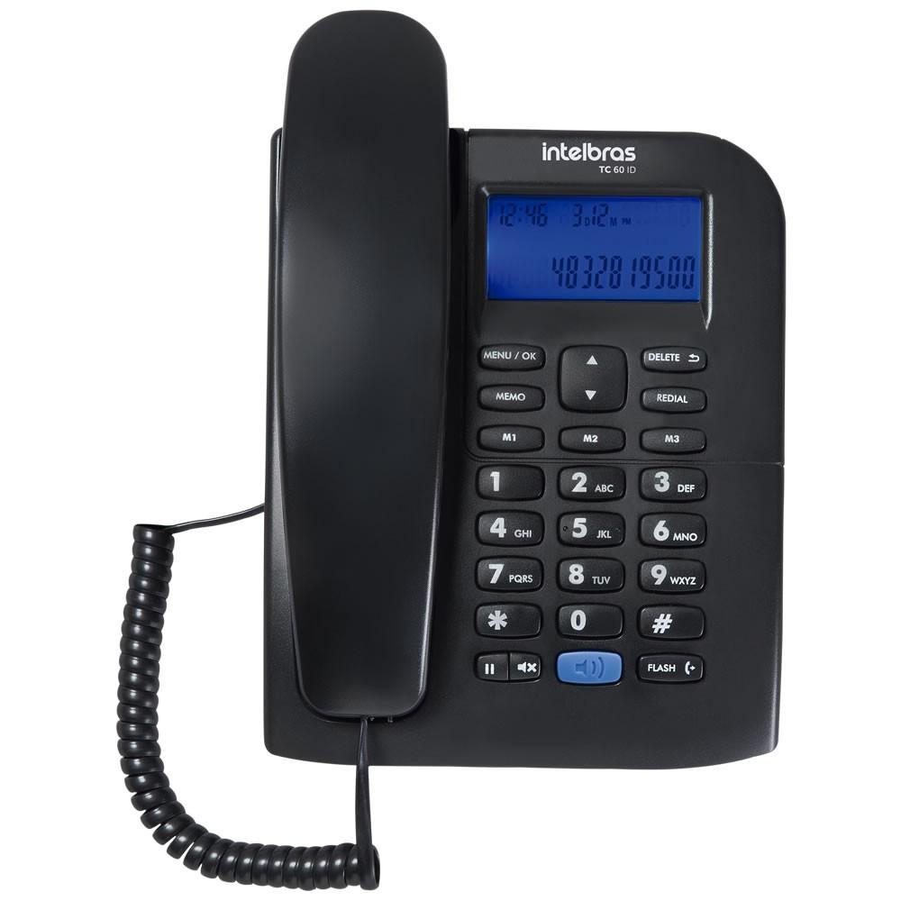 Kit 10 Telefones Com fio Identificador Chamda TC 60 ID Intelbras