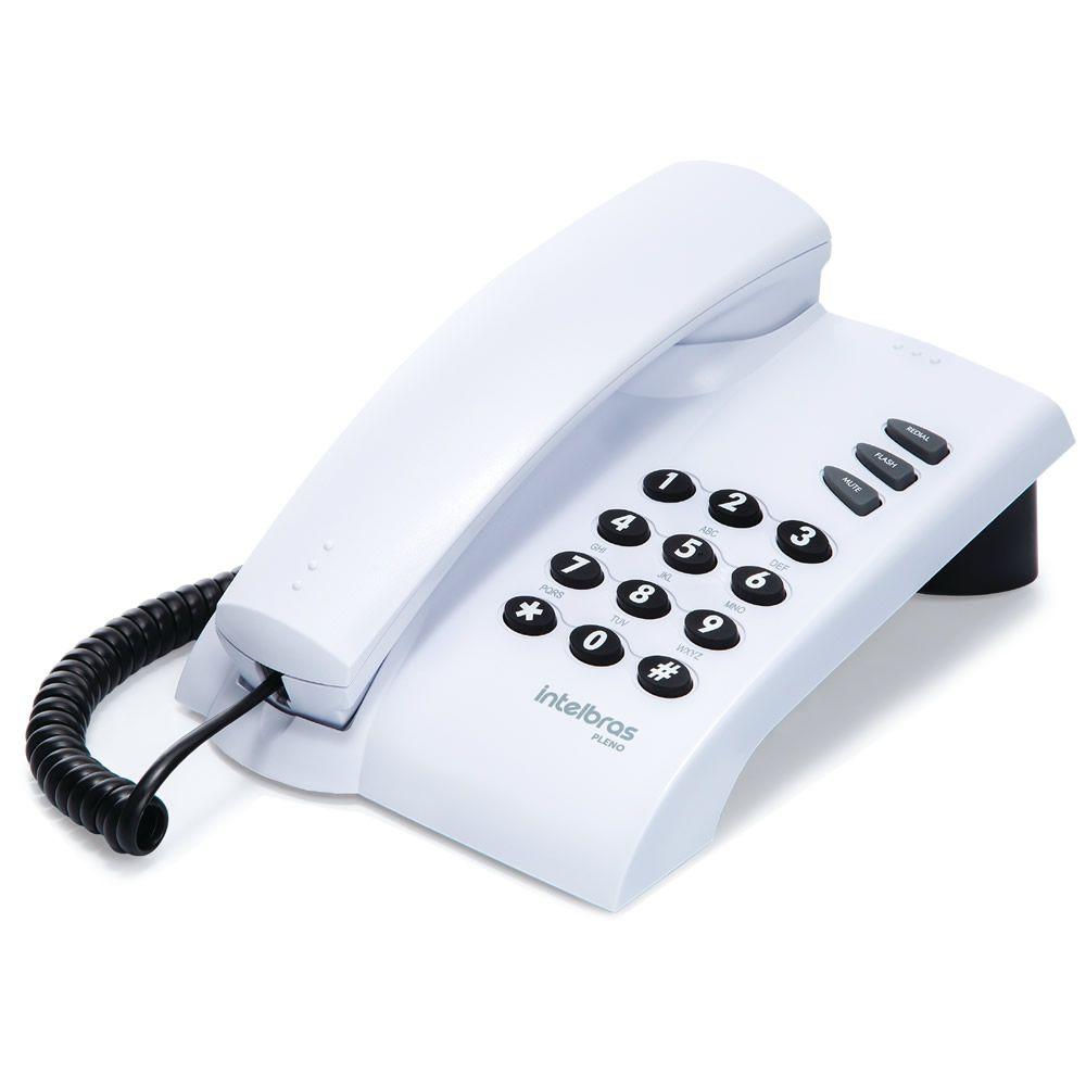 Kit 10 Telefones Com Fio Mesa ou Parede Pleno Branco Intelbras