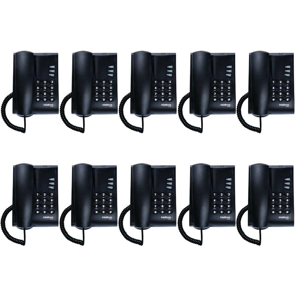 Kit 10 Telefones Com Fio Mesa ou Parede Pleno Preto Intelbras