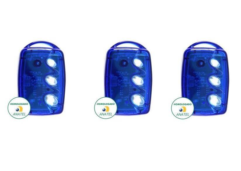 Kit 3 Controles Remotos 433 Mhz 3 Teclas TX3 T-B Azul Linear