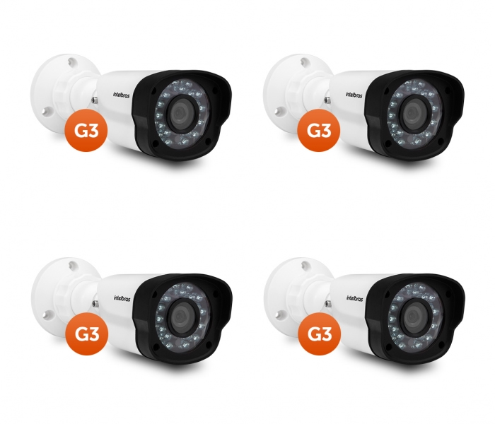 Kit 4 Câmeras AHD ou 900 Linhas 20 m VM 1120 IR G3 Intelbras