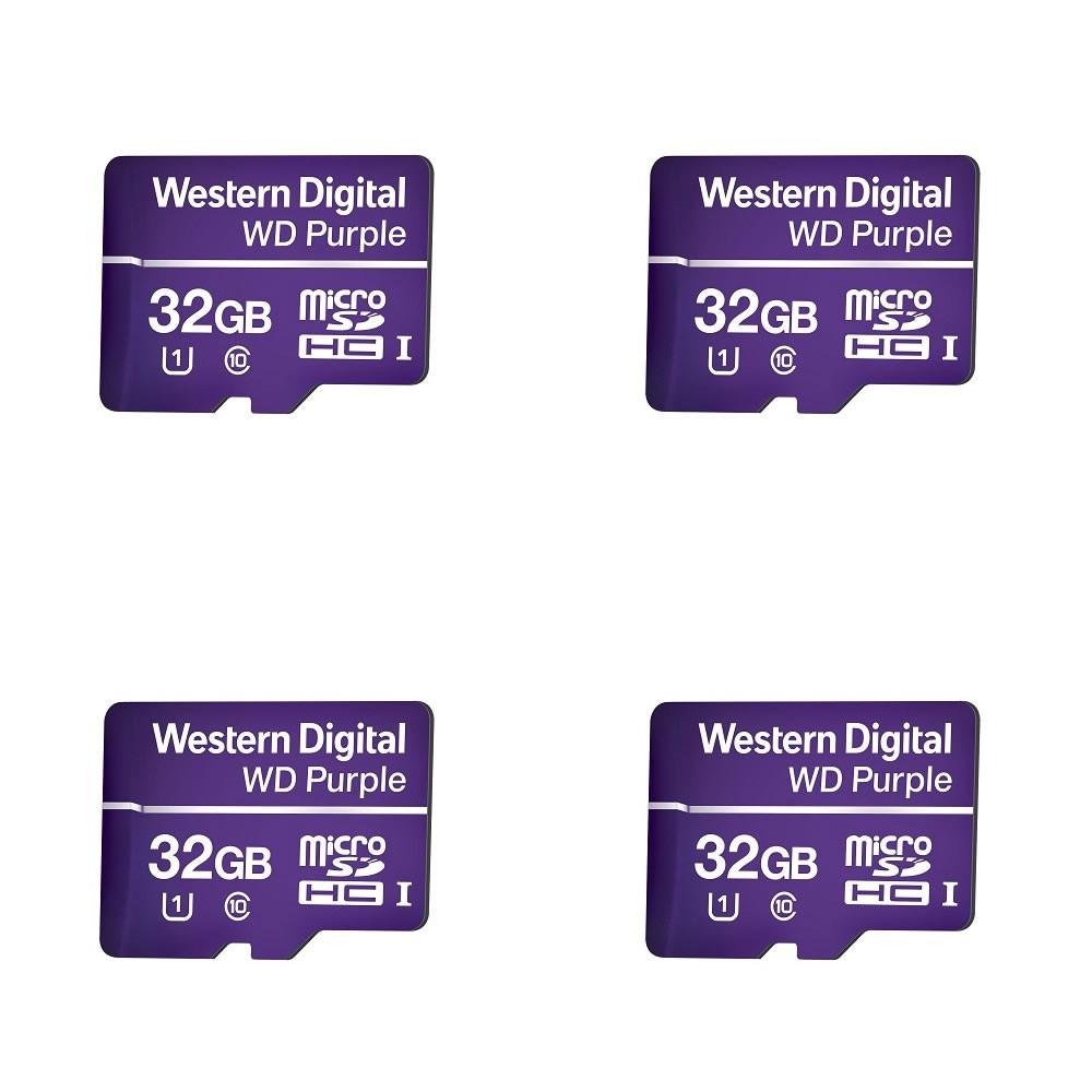 Kit 4 Cartão de Memória 32 GB Micro SD WD Purple Intelbras