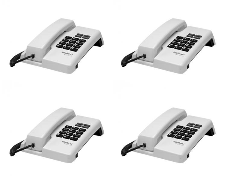 Kit 4 Telefones Com Fio TC 50 Premium Branco Intelbras