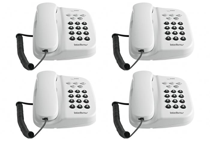 Kit com 4 Telefones De Mesa 5 Funções Tc 500 Branco - Intelbras